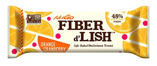 NuGO Fiber d'Lish Bar, Orange Cranberry, Pack of 16