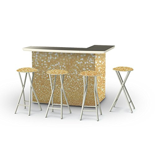 Best of Times Portable Patio Bar Table with Stools, Glitt...