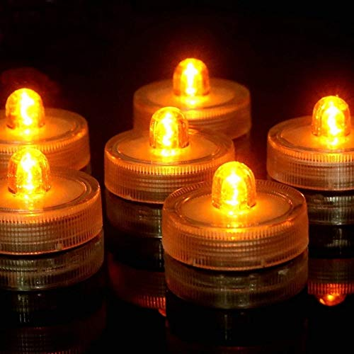 - Bright LED Battery Operated Flameless Tea Light, Submersible Tea Candle Waterproof Decorations Underwater Vase Light For Party and Wedding, Pack Of 12, Yellow