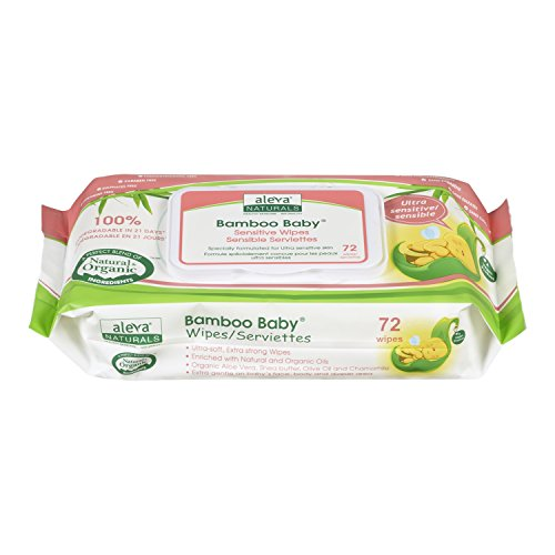 Aleva Naturals Bamboo Baby Wipes, Sensitive, 72 Count (Pack of 6)