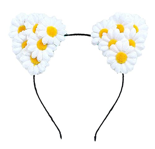 Floral Fall Festival Daisy Floral Rave Cat Ears Girls Cat Costume Headband F-74 (White) - Flower Child Costume Rave