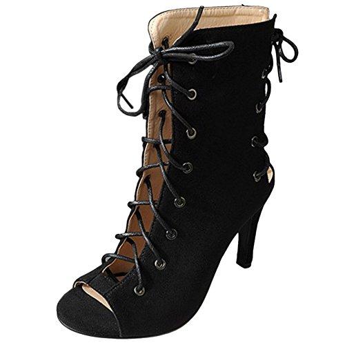 Stringate Scarpe Vulusvalas Black Gladiator Moda Donna wAqnxWYfOI