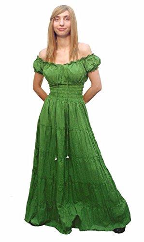 [Faire Lady Designs Women's Renaissance Costume Peasant Boho Sun Dress Sage (One Size Regular)] (Renaissance Peasant Lady Costumes)