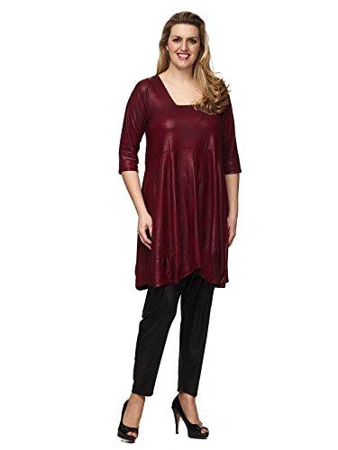 by Maltex24 - Damen Übergröße Ballondesign Tunika Kleid Lederoptik mit Trapez-Ausschnitt Farbe bordeaux Bordeaux XzgQFJVDfL
