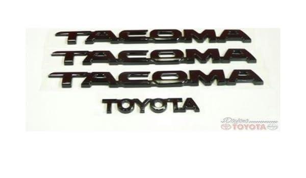 OEM TOYOTA TACOMA BLACK EMBLEM SET FITS 2005-2017 75471-04040-C1 75427-04020-C1