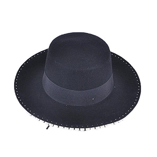 Peng sounded Wool Hat, Pure Color Jazz Hat, Spring And Autumn Season Ladies' Rivet Felt Hat. (Wool Hat Drill)