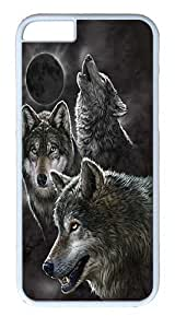 """iPhone 6 Case - Scratch Protection Ultra Slim Fit Hard PolyCarbonate White Plastic Case for Apple iPhone 6 (4.7"""") with Pattern: Eclipse Wolves"""