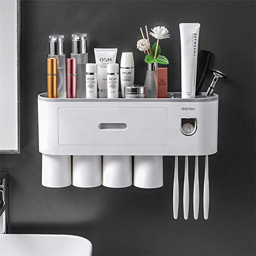 HOLD IT Toothbrush Holder Set - Wall Mounted Bathroom Accessories Very Useful Toothpaste Dispenser with Dustproof Cover 4 Magnetic Cups, 4 Toothbrush Slots Multi-Functional Toothpaste Dispenser