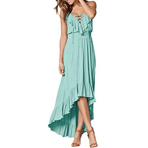 veless Sexy Halter V-Neck Ruffle High Low Maxi Party Dress Mint-Green-L ()