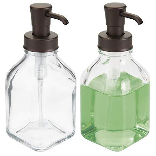 mDesign Square Glass Refillable Liquid Soap Dispenser Pump Bottle for Bathroom Vanity Countertop, Kitchen Sink - Holds Hand Soap, Dish Soap, Hand Sanitizer, Essential Oils - 2 Pack - Clear/Bronze (Bath Soap Dispenser)