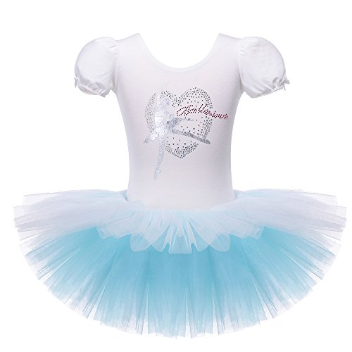 Kids One-Piece Sparkle Rhinestone Dance Costumes Short Sleeve Tutu Ballet Dress for Little Girls 3-8 Years (4-5 Years(Tag No.L), White Blue)