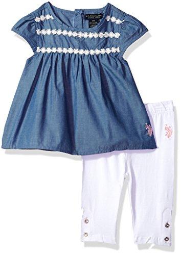 (U.S. Polo Assn. Baby Girls Fashion Top and Legging Set, Lace Taping Yoke Babydoll White, 3-6 Months)