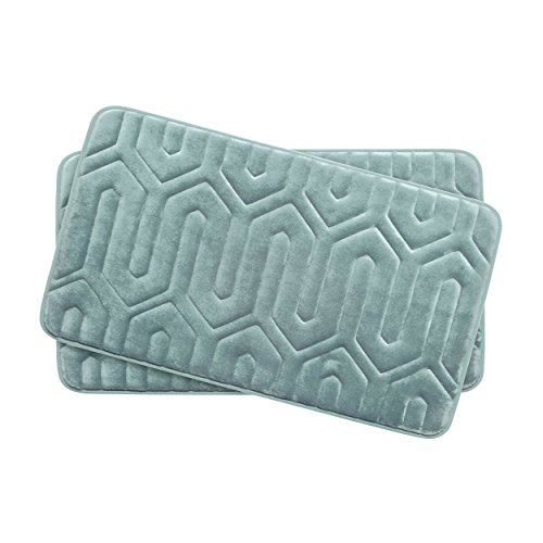 Bounce Comfort Extra Thick Memory Foam Bath Mat Set - Thea Premium Plush 2 Piece Set with BounceComfort Technology, 17 x 24 in. Aqua -  YMB003722
