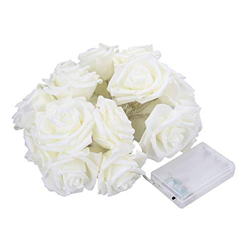 (NYKKOLA 20 LED Battery Operated String Flower Rose Fairy Light Wedding Room Garden Christmass Decor (White))