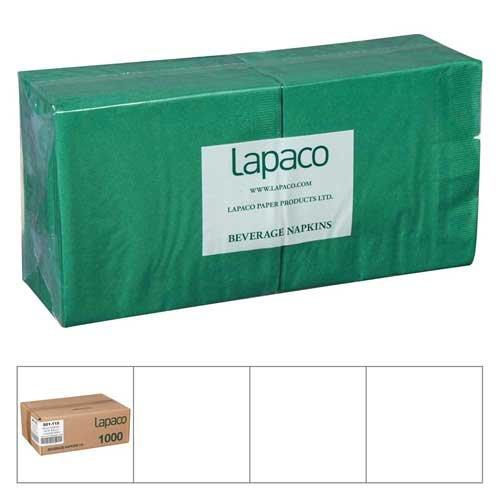 Lapaco Plain 2 Ply Green Beverage Napkin - 1000 per case.