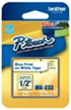"""1/2"""" (12mm) Blue on White P-touch M Tape for Brother PT-65, PT65 Label Maker"""