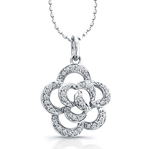 White Gold Flower Diamond 14k Pendant (14k White Gold Diamond Flower Pendant (1/5cttw, IJ, I1-I2), 16