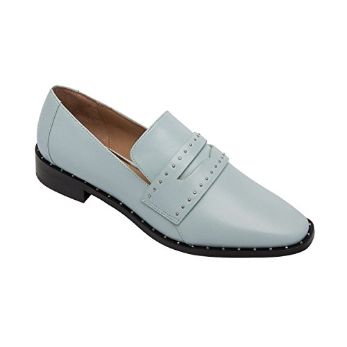 Azure Leather (Tara | Women's Almond Toe Leather Studded Penny Loafer Azure Leather 9M)