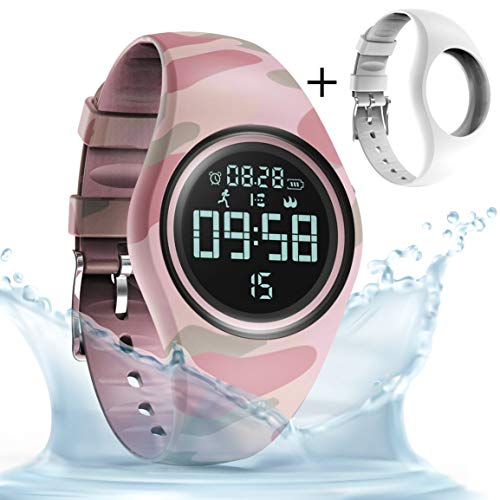 synwee Sports Fitness Tracker Watch, IP68 Waterproof, Non-Bluetooth, with Pedometer/Vibration Alarm Clock/Timer,for Kid Children Teen Boys Girls (Camouflage Pink)