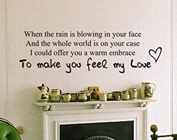 Make You Feel My Love Adele Lyrics Vinyl Wall Sticker Art Black Small