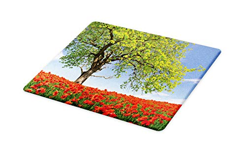 Ambesonne Poppy Cutting Board, Landscape of Blooming Poppies on Field Majestic Tree Rural Terrain Habitat Photo, Decorative Tempered Glass Cutting and Serving Board, Large Size, Green Red Blue