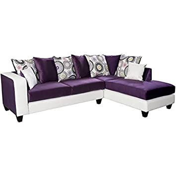 Amazon.com: Pemberly Row Velvet Right Facing Sectional in ...