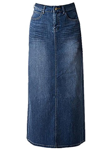 Women's Maxi Pencil Jean Skirt- High Waisted A-Line Long Denim Skirts For Ladies- Blue Jean Skirt,Blue,18 (Next Denim Skirt)