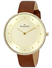 Skagen Women's SKW2138 Gitte Gold-Tone Stainless Steel Watch with Brown Leather Strap