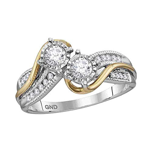 Jewel Tie - Size 8 - Solid 14k White Two-tone Gold Round Diamond 2-stone Bridal Engagement Ring Wedding Band Set (1/2 Cttw.) (Certified)