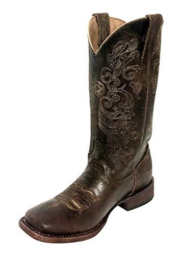Ferrini Women's Southern Charm Dark Chocolate Cowgirl Boot Square Toe Dark Brown 7.5 M