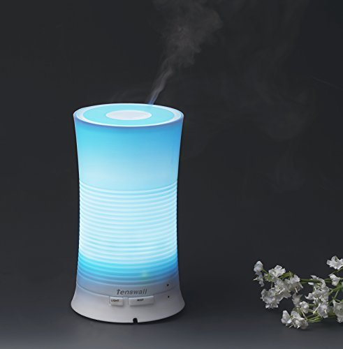 Tenswall Aroma Ultrasonic Essential Oil Diffuser Aromatherapy Cool Mist Humidifier with Relaxing & Soothing Multi-colour LED Light Perfect for Home, Office, Spa, Baby Room Etc Image