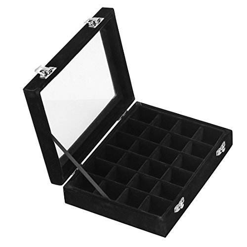 Ivosmart 24 Section Velvet Glass Jewelry Ring Display Organiser Box Tray Holder Earrings Storage Case (Black)