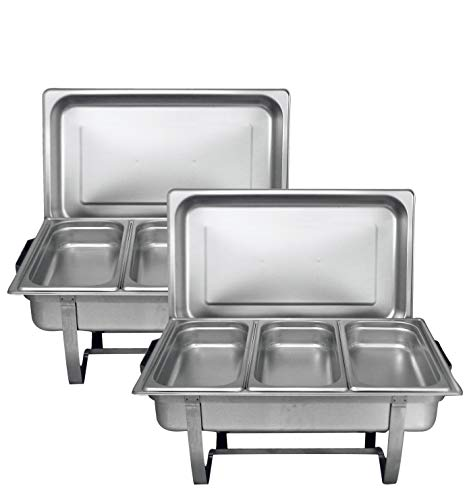 Tiger Chef 8 Quart Full Size Stainless Steel Chafer with 3 1/3rd Size Chafing Food Pans and Cool-Touch Plastic on top (2, Full Size with 1/3rd Inserts) Food Warmers for Parties