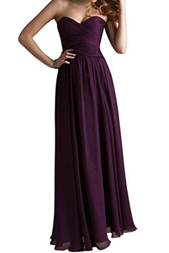 A Herzform Abendkleid Bride Festkleid Chiffon Modisch Abendmode Linie Grape Lang Gorgeous wXq4gRE