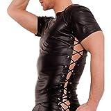 ThinkMax Fashionable Male Sexy Vest Tied Rope Seductive T-Shirt Waistcoat Flirting Lingerie Nightclub Wear Faux Leather Soft Underwear