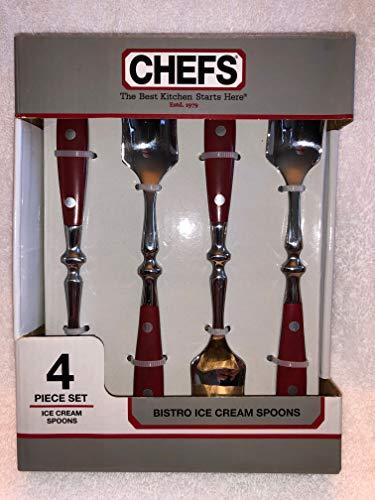 CHEFS Bistro Ice Cream Spoons - Set of 4 - Red - Full Tang Handle Bakelite