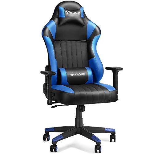 YITAHOME Silla para juegos, grande y alta, resistente, 400 libras, ergonómica, para videojuegos, estilo de carreras, computadora de oficina con respaldo alto, reposacabezas y soporte lumbar, azul