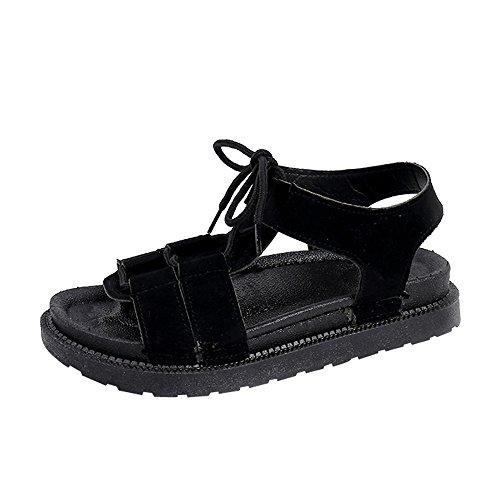 MOIKA Damen Sandalen, Women Fashion Solid Runde Zehe Kreuz Gebunden Sandalen Flatform Schuhe Strandschuhe Schwarz
