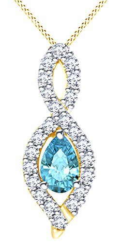 14K Solid Yellow Gold Pear Cut (0.45 Cttw) Blue & White Natural Diamond Infinity Style Pendant Necklace by AFFY