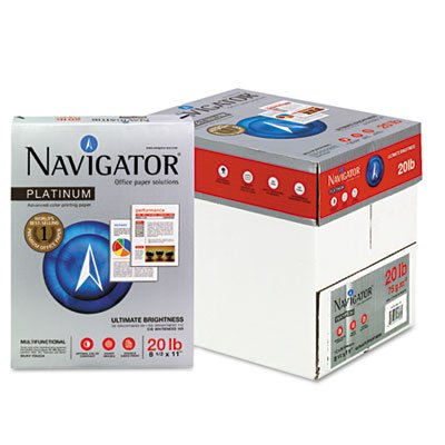 Navigator Platinum Paper, 99 Brightness, 20lb, 8-1/2 x 11, White, 2500/Carton