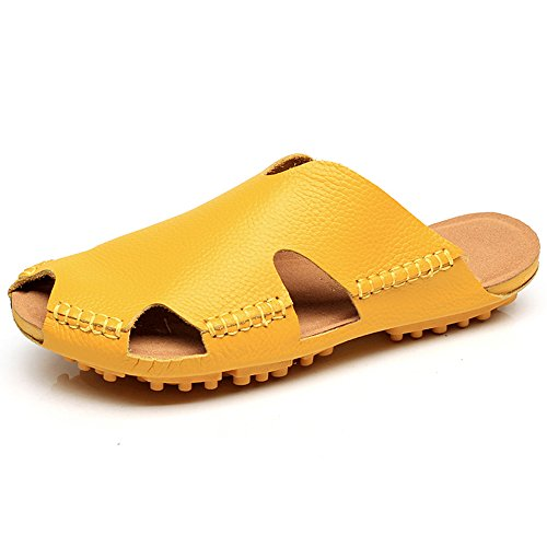 Slippers HAIZHEN Women shoes Male/female soft bottom Baotou Couple cool Beach shoes(Black/Brown/Pink/Red/White/Yellow) for Women (Color : Black, Size : EU36/UK3.5/CN36) Yellow