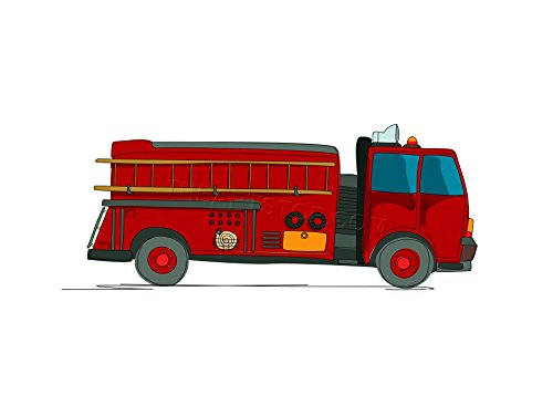 The Art Stop KIDS AMERICAN FIRE TRUCK RED YELLOW FIREMEN FRAMED PRINT F12X4276 Fire Truck Painting