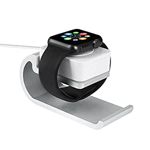 Apple MFI Certified iWatch Charger with Stand, Smart Apple Watch Magnetic Charger / Charging Dock Station with 3.3 Feet Charging Cable & Aluminum Alloy Stand for iWatch Series 1 & 2 - Silver