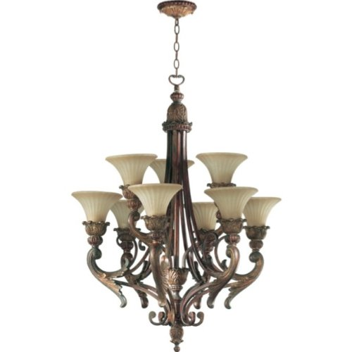 Quorum 6230-6-88 Madeleine - Six Light Chandelier, Corsican Gold Finish with Antique Amber Scavo Glass