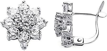 18Kホワイトゴールドキュービックジルコニアのイヤリング12ミリメートルレンネット。 [AA2628]