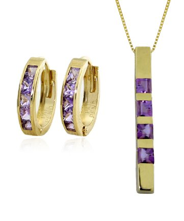 14k Gold Jewelry Set: Natural Purple Amethyst Pendant Necklace and Huggie Hoop Earrings by Galaxy Gold