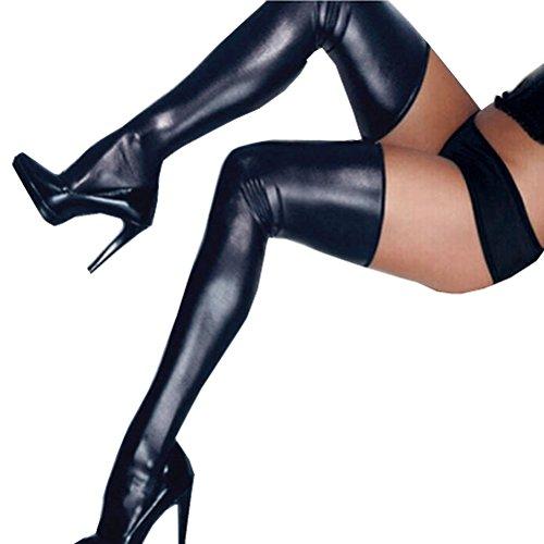 Tuesdays2 Women PU Leather Legging Stockings PVC Clubwear Thigh-High Sock (Black, XL) (Thigh Latex)