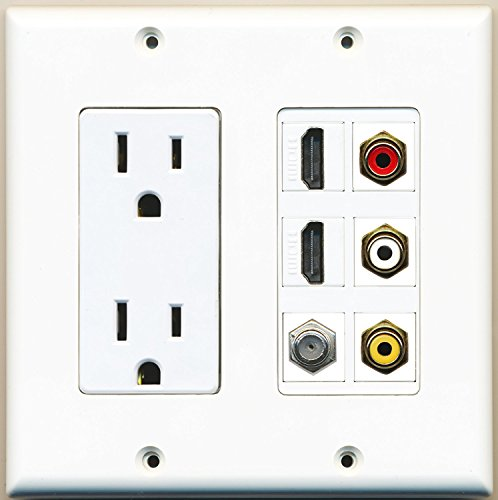(RiteAV - 2 x 15 Amp 125V Power Outlet 3 x RCA - 2 X HDMI and 1 x Coax Cable TV Port Wall Plate White)