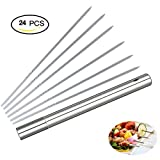 Kabob Skewers Stainless Steel 24 Pieces 14'' Barbecue Skewers Anti-Rust, Reusable BBQ Skewers with Container Tube