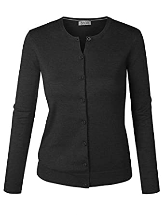 BIADANI Women Button Down Long Sleeve Crewneck Soft Knit Cardigan ...